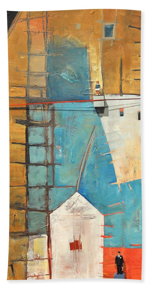 Abstract Hand Towel featuring the painting Incident At Harpers Corner by Tim Nyberg