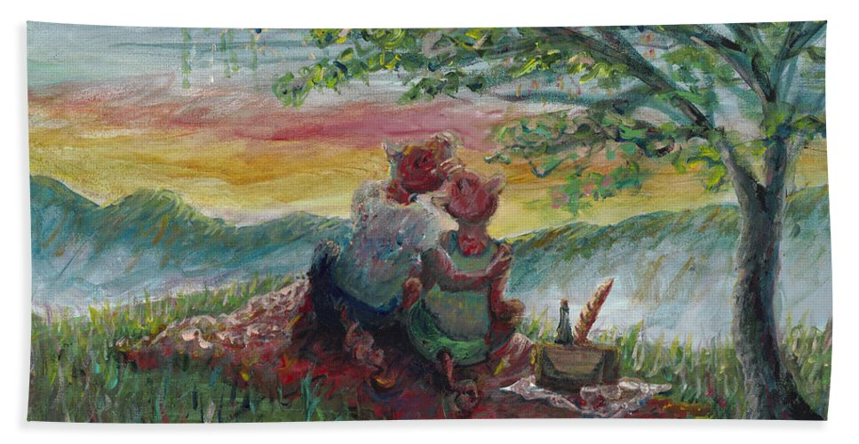Landscape Bath Towel featuring the painting Independance Day Pignic by Nadine Rippelmeyer