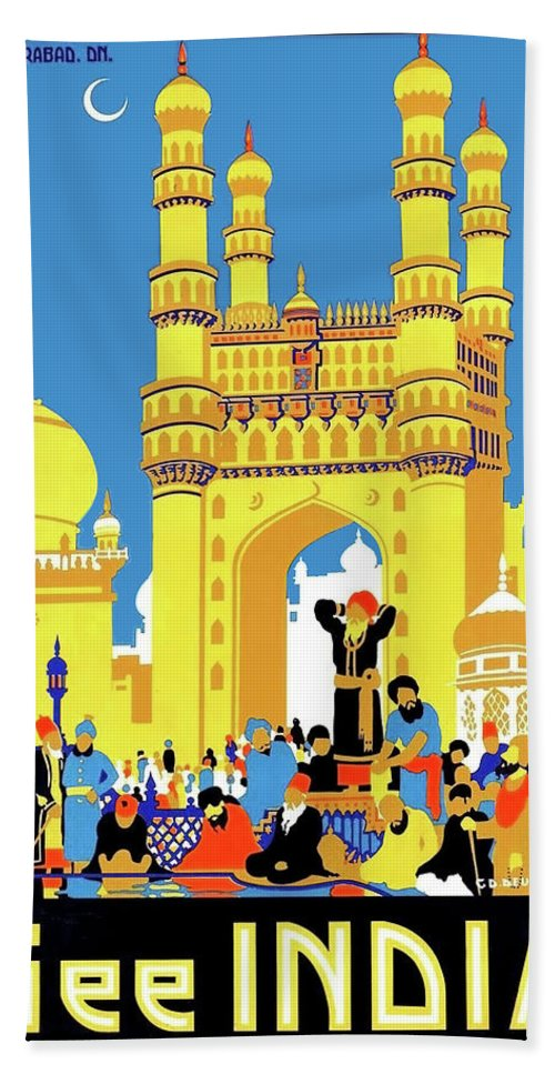 India Hand Towel featuring the painting India, Castle, People, Street by Long Shot