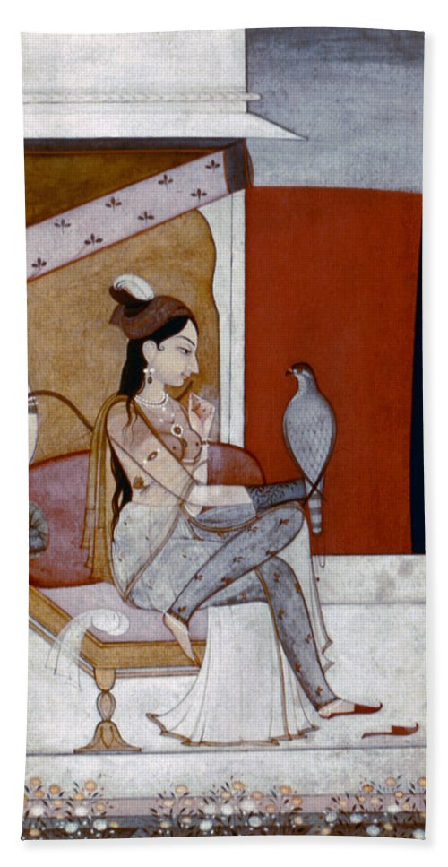 1570 Bath Sheet featuring the photograph India: Lady & Hawk, C1570 by Granger