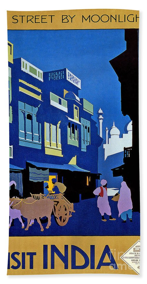 India Travel Poster Hand Towel featuring the painting India Travel Poster by Pd