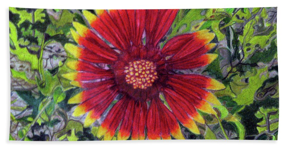 Fuqua - Artwork Bath Sheet featuring the drawing Indian Blanket by Beverly Fuqua