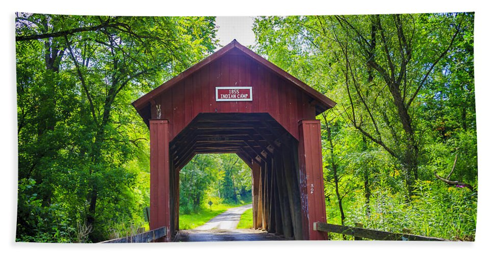 America Hand Towel featuring the photograph Indian Camp Covered Bridge by Jack R Perry