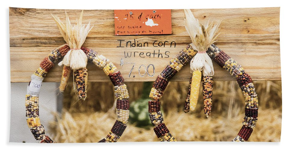 Indian Corn Wreaths Bath Sheet featuring the photograph Indian Corn Wreaths by Tracy Winter