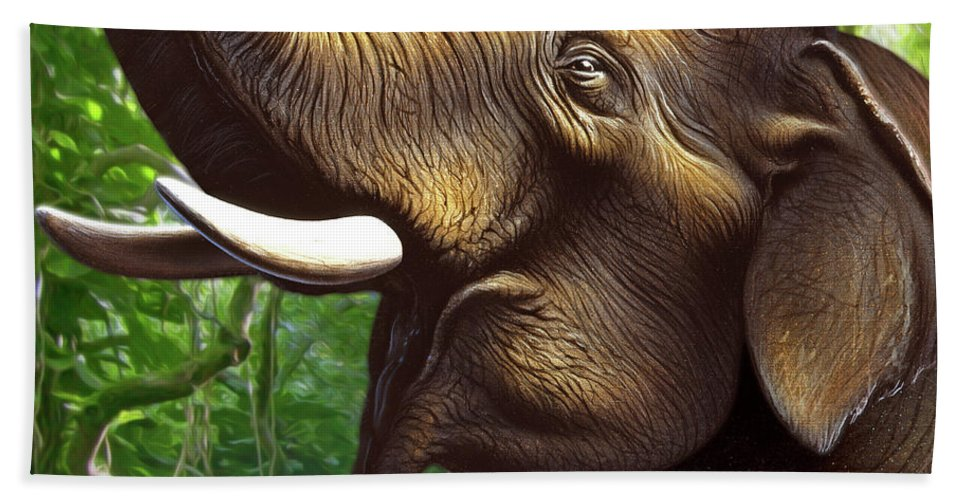 Elephant Hand Towel featuring the painting Indian Elephant 1 by Jerry LoFaro