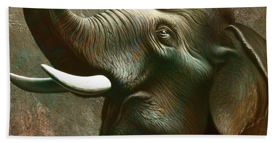 Elephant Hand Towel featuring the painting Indian Elephant 2 by Jerry LoFaro