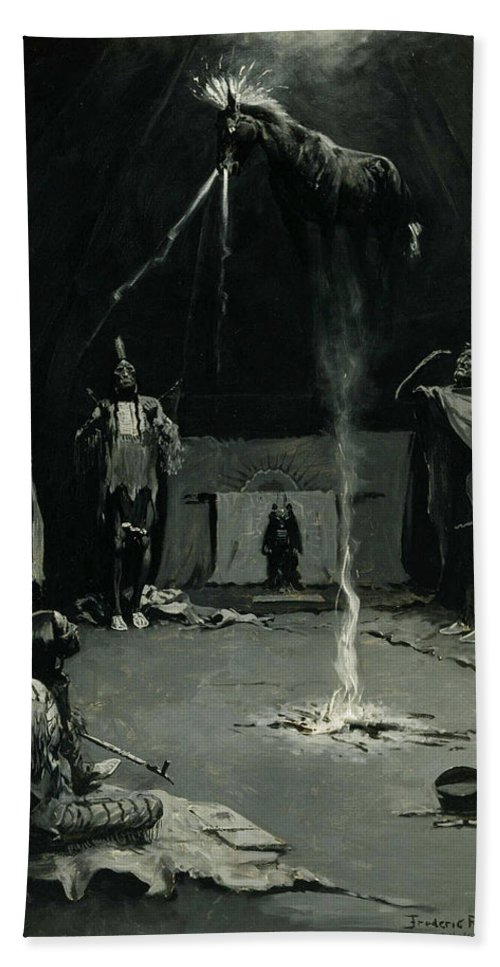 Native Americans Bath Sheet featuring the painting Indian Fire God -the Going Of The Medicine Horse by Frederic Sackrider Remington