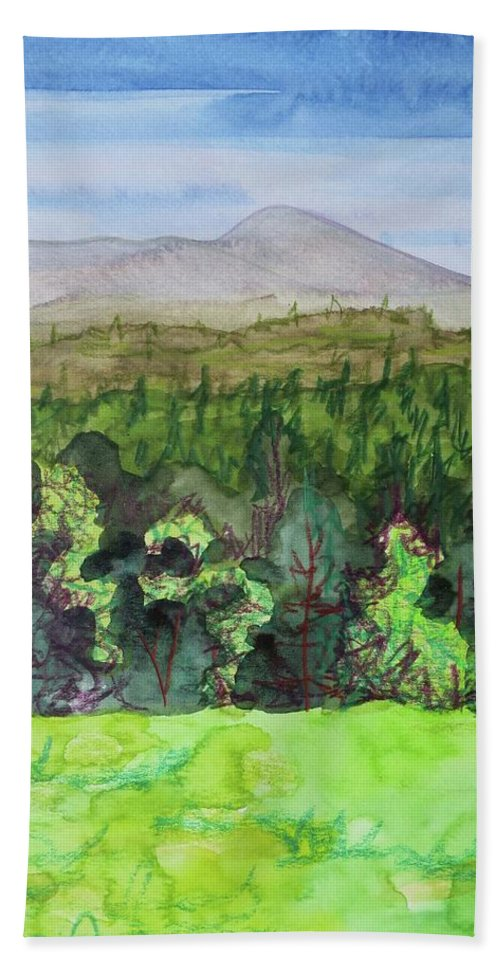 Bullhead Mountain Hand Towel featuring the painting Bullhead Mountain, Indian Lake Overlook Panorama 3 by Bethany Lee