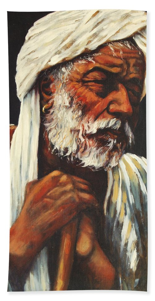 India Bath Towel featuring the painting Indian Man by Rick Nederlof