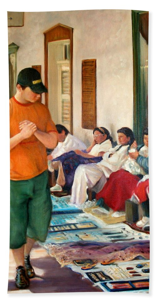 Realism Bath Towel featuring the painting Indian Market by Donelli DiMaria