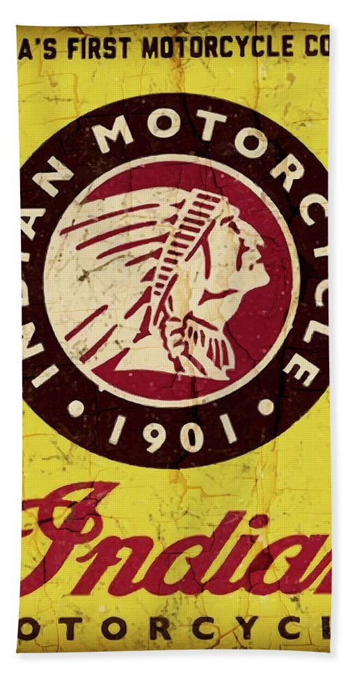Indian Hand Towel featuring the digital art Indian Motorcycle Sign 1901 by Daniel Hagerman