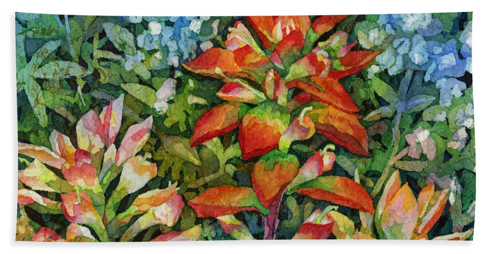 Wild Flower Hand Towel featuring the painting Indian Paintbrush by Hailey E Herrera