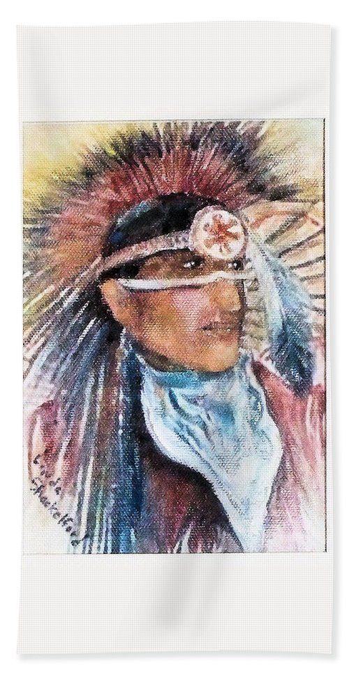 Oklahoma Hand Towel featuring the painting Indian Portrait by Linda Shackelford