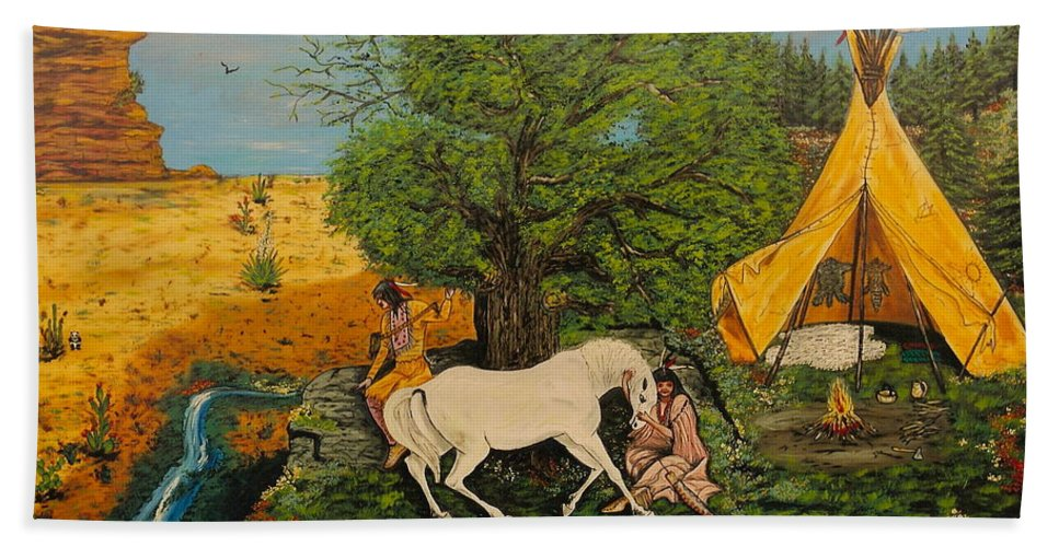 Horses Hand Towel featuring the painting Indian Romance by V Boge