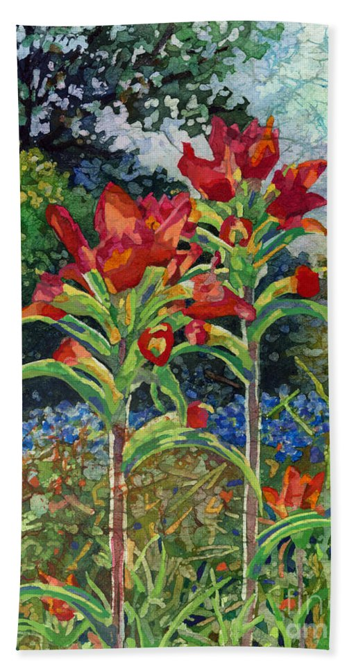 Wild Flower Hand Towel featuring the painting Indian Spring by Hailey E Herrera
