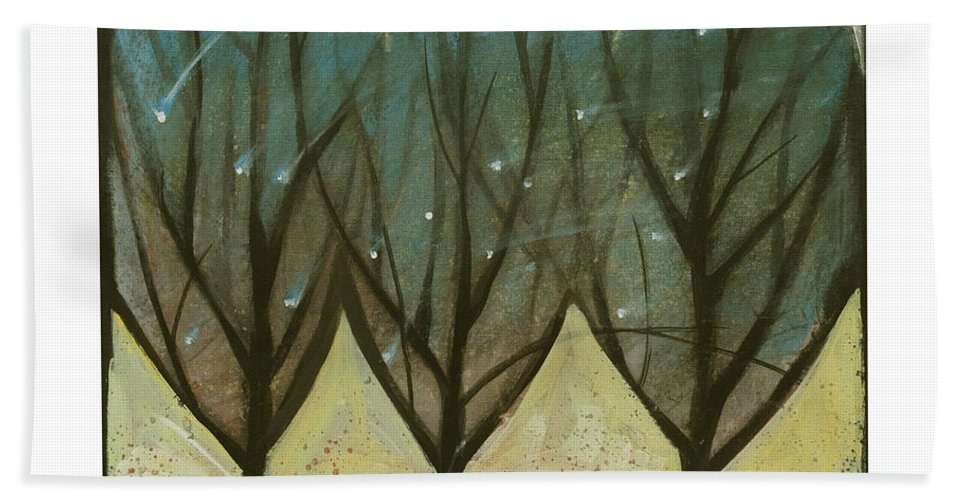 Trees Bath Towel featuring the painting Indian Summer Snow by Tim Nyberg