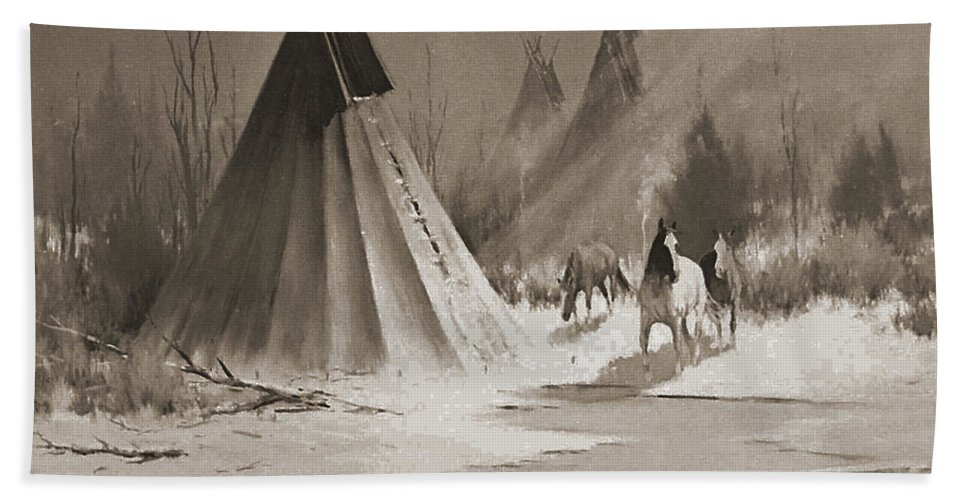 American Hand Towel featuring the photograph Indian Tee Pee by Gary Wonning