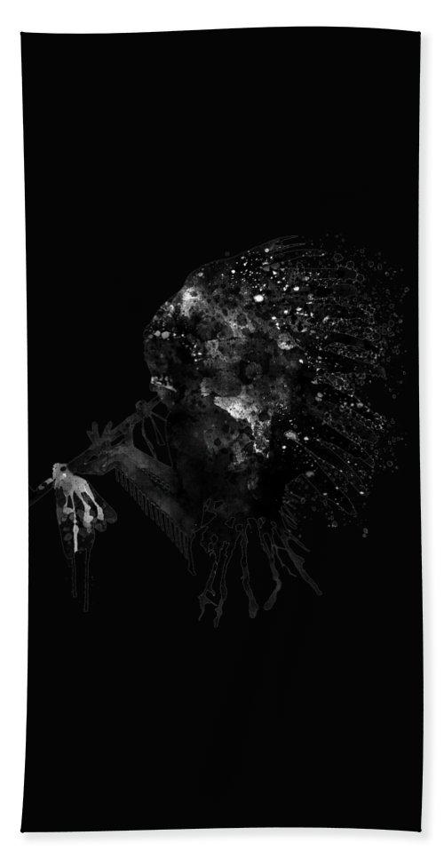 Indian Bath Sheet featuring the painting Indian With Headdress Black And White Silhouette by Marian Voicu