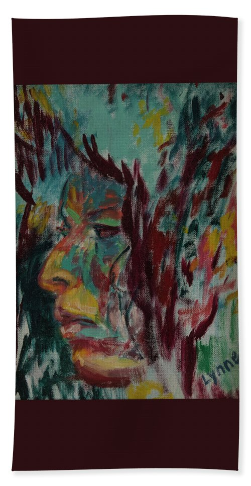 Portrait Hand Towel featuring the painting Indian Woman by Lynne Guess