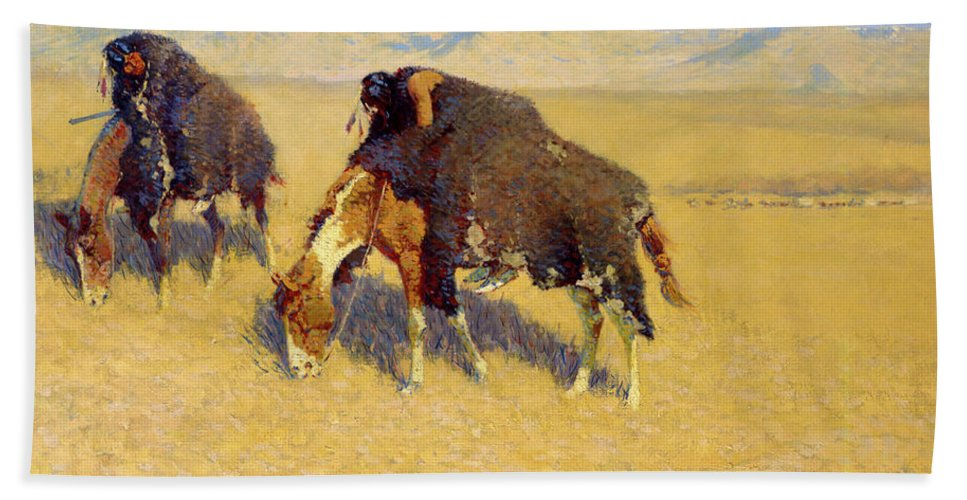 Native Americans Bath Sheet featuring the painting Indians Simulating Buffalo by Frederic Sackrider Remington