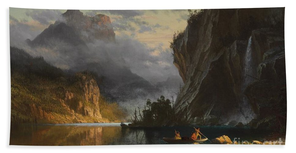 Landscape; Romantic; Romanticist; America; North America; American; North American;landscape; Rural; Countryside; Wilderness; Scenic; Picturesque; Atmospheric; Indians; Native American; Native Americans; American Indian; American Indians; Lake; River; Dramatic; Clouds; Mountains; Mountainous; Western; Rugged; Cliffs; Beach; Boat; Fishing; Spear; Spears; Waterfall Bath Towel featuring the painting Indians Spear Fishing by Albert Bierstadt