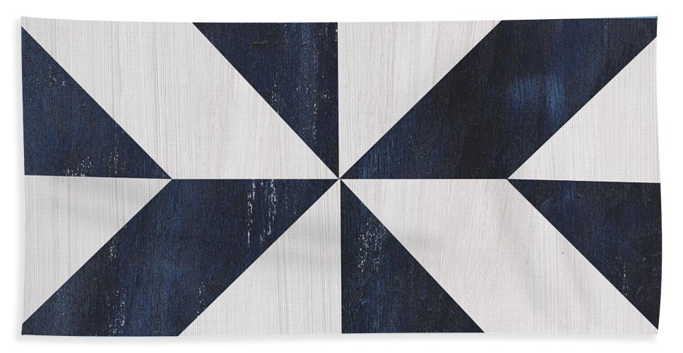 Quilt Bath Towel featuring the painting Indigo and Blue Quilt by Debbie DeWitt