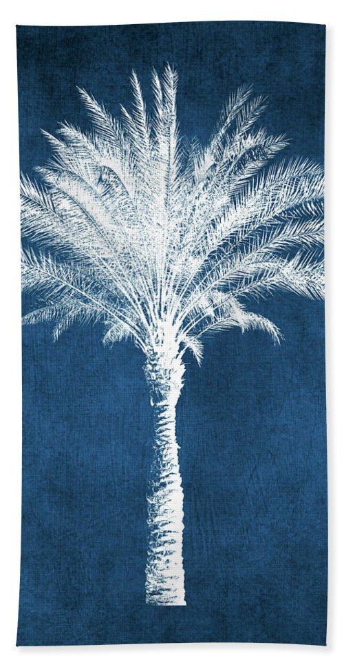 Palm Tree Bath Towel featuring the mixed media Indigo and White Palm Tree- Art by Linda Woods by Linda Woods