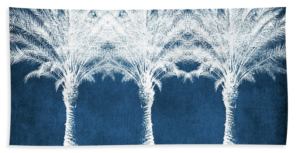 Palm Tree Bath Towel featuring the mixed media Indigo And White Palm Trees- Art by Linda Woods by Linda Woods