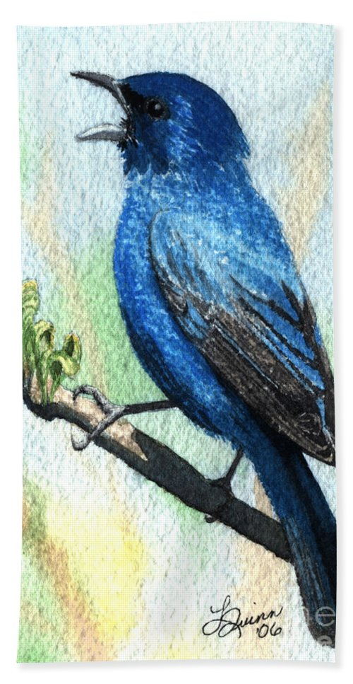 Bird Hand Towel featuring the painting Indigo Bunting by Lynn Quinn