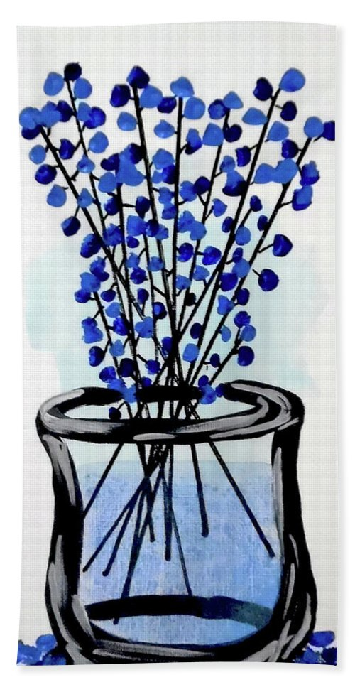 Vase Of Flowers Bath Sheet featuring the painting Indigo Falls by Jilian Cramb - AMothersFineArt