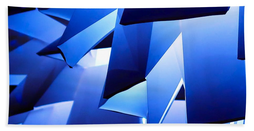 Abstract Hand Towel featuring the photograph Indigo Lantern by Bonnie See