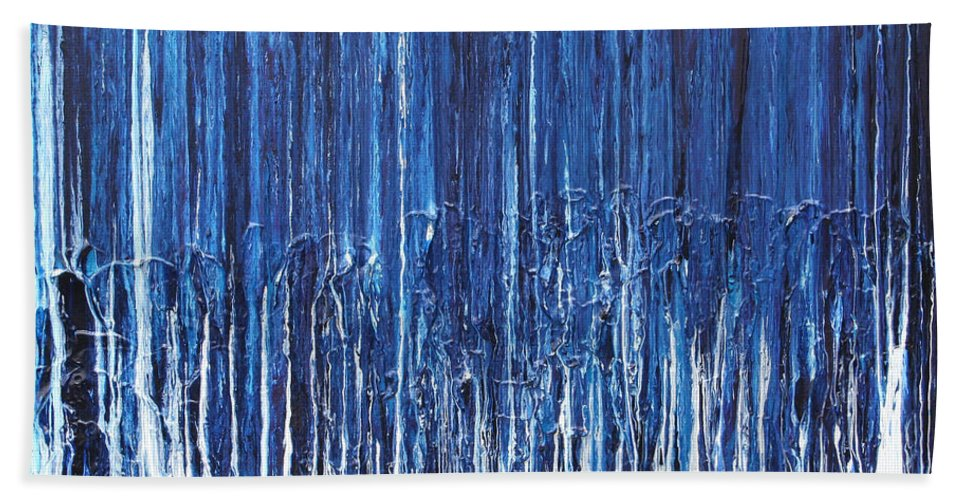 Fusionart Hand Towel featuring the painting Indigo Soul by Ralph White