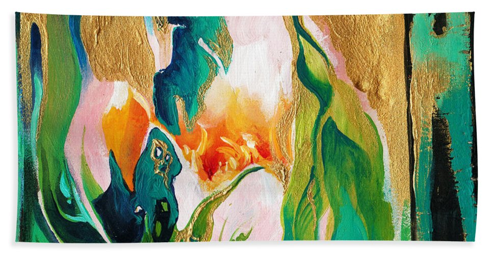 Lin Petershagen Hand Towel featuring the painting Indigold by Lin Petershagen