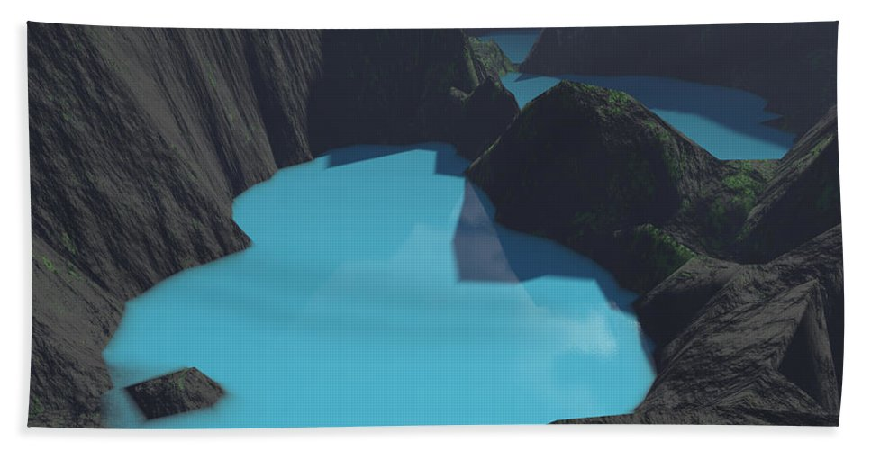 Basalt Hand Towel featuring the digital art Indonesian Crater Lakes by Gaspar Avila