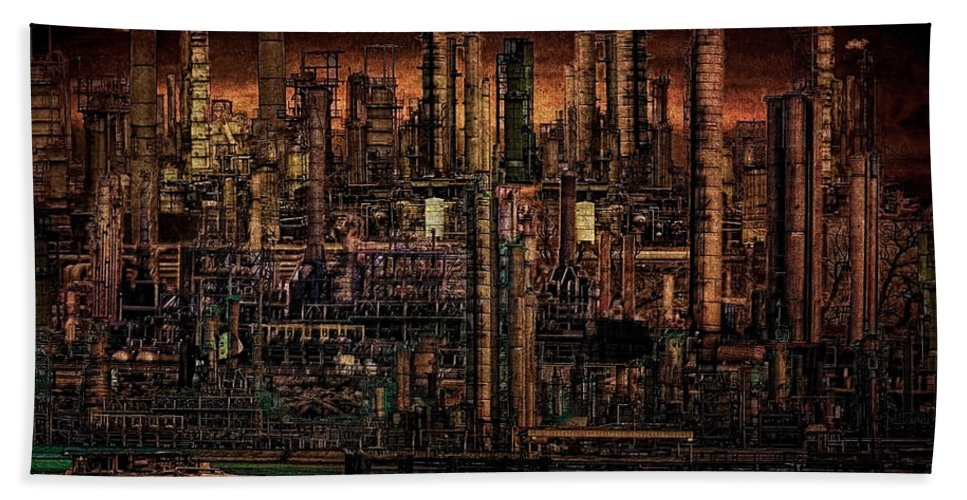 Industry Hand Towel featuring the digital art Industrial Psychosis by Chris Lord