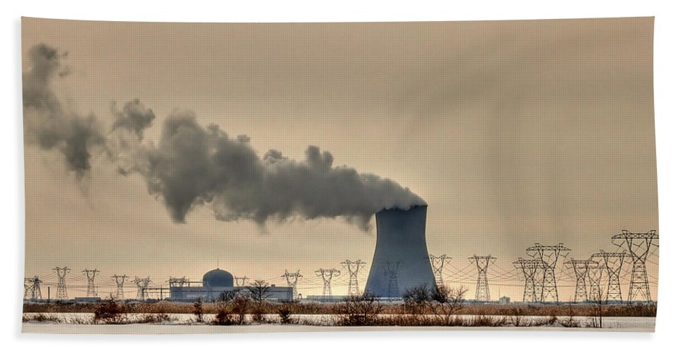Clouds Hand Towel featuring the photograph Industrialscape by Evelina Kremsdorf