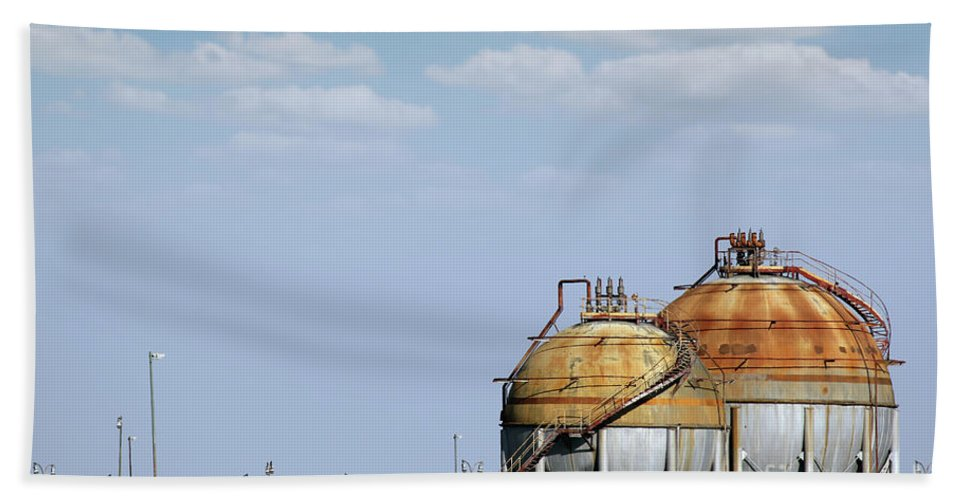 Built Hand Towel featuring the photograph Industry Tank For Gas And Liquid by Goce Risteski