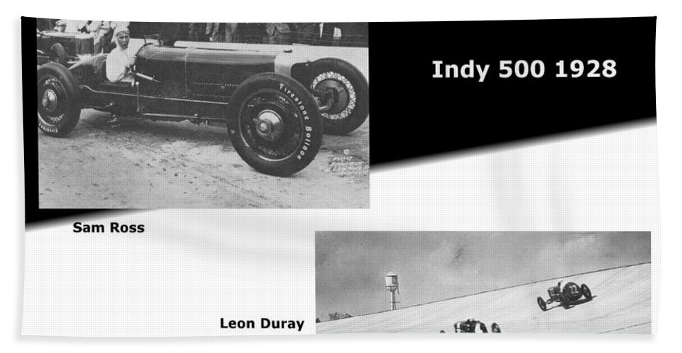 Indy 500 1928 Sam Ross And Leon Duray Hand Towel featuring the photograph Indy 500 1928 Sam Ross And Leon Duray by R Muirhead Art