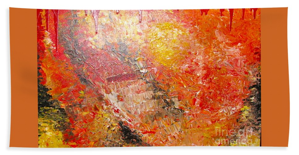 Red Bath Sheet featuring the painting Inferno by Jacqueline Athmann