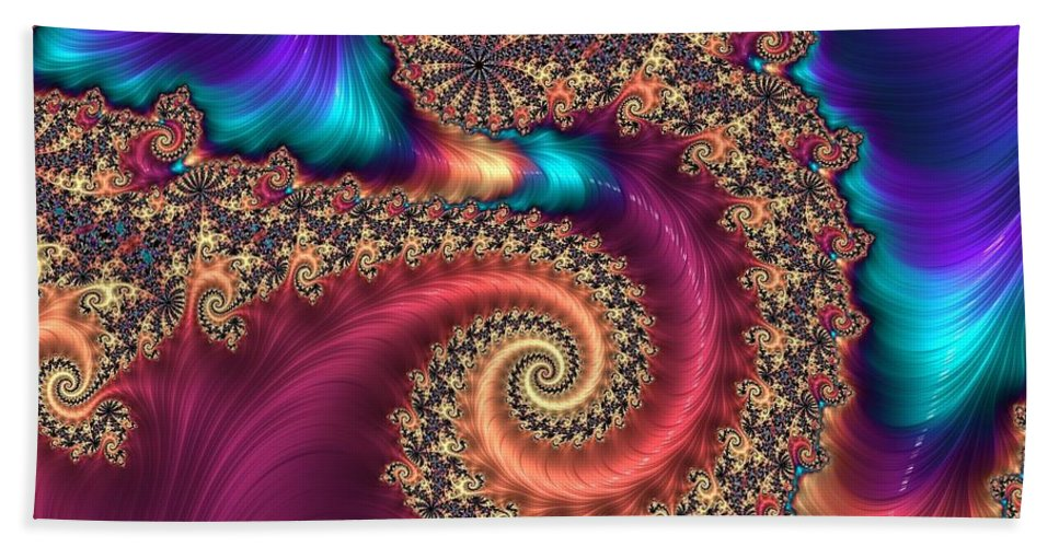 Rainbow Bath Sheet featuring the digital art Infinite Rainbow by Mary Ann Seymour