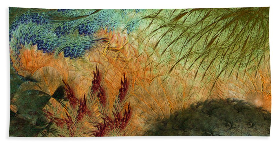 Abstract Bath Sheet featuring the digital art Inflammation by Casey Kotas