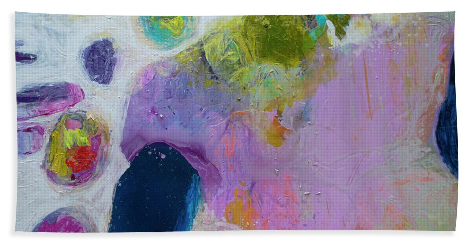 Abstract Hand Towel featuring the painting Inherent by Claire Desjardins