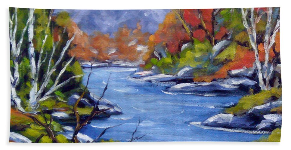 Art Bath Sheet featuring the painting Inland Water by Richard T Pranke