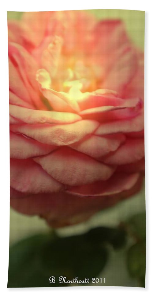 Rose Bath Sheet featuring the photograph Inner Glow by Betty Northcutt