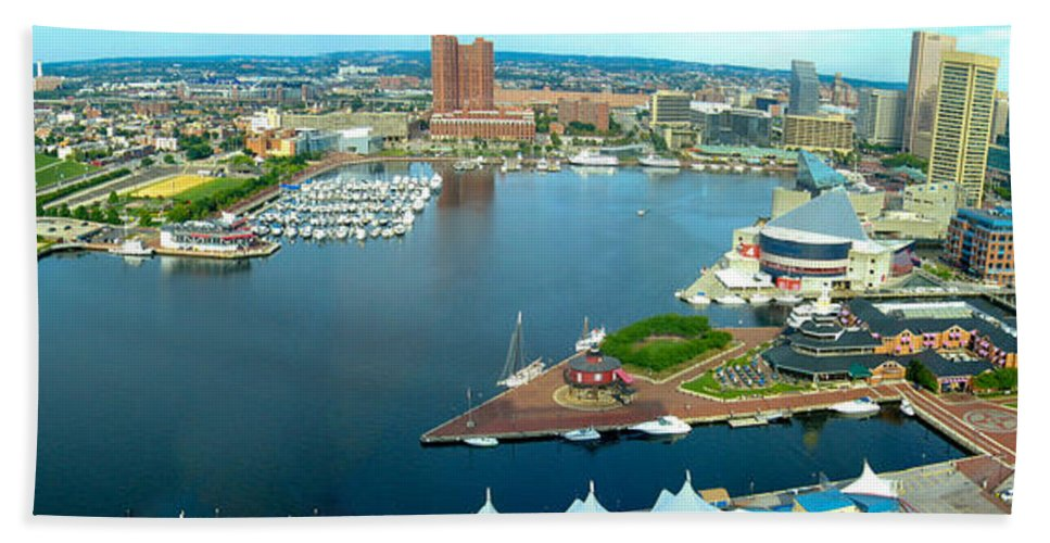 Baltimore Bath Sheet featuring the photograph Inner Harbor Baltimore Panorama by Thomas Marchessault