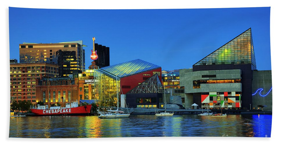 Baltimore Hand Towel featuring the photograph Inner Harbor by John Greim