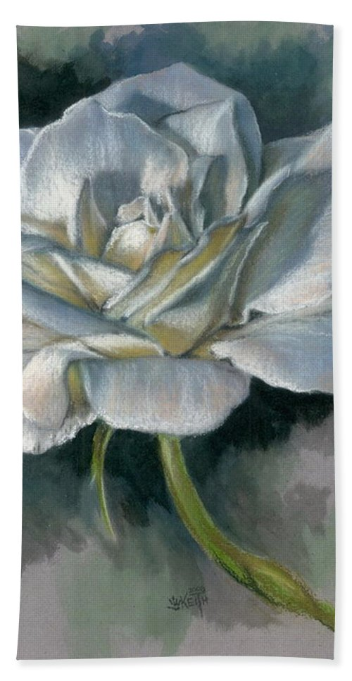 Rose Bath Towel featuring the mixed media Innocence by Barbara Keith