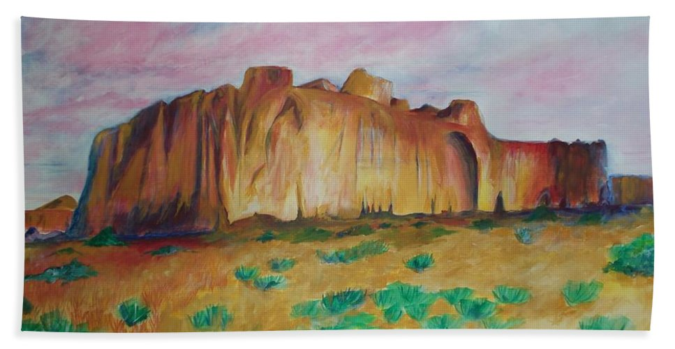 Western Landscapes Bath Sheet featuring the painting Inscription Rock by Eric Schiabor