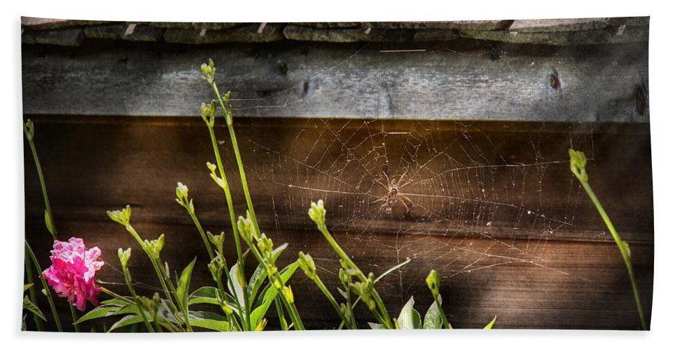 Suburbanscenes Bath Sheet featuring the photograph Insect - Spider - Charlottes Web by Mike Savad