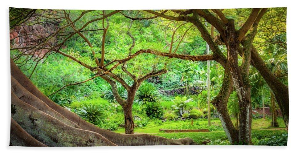 Tree Bath Sheet featuring the photograph Inside Allerton Garden by Gary Eyring